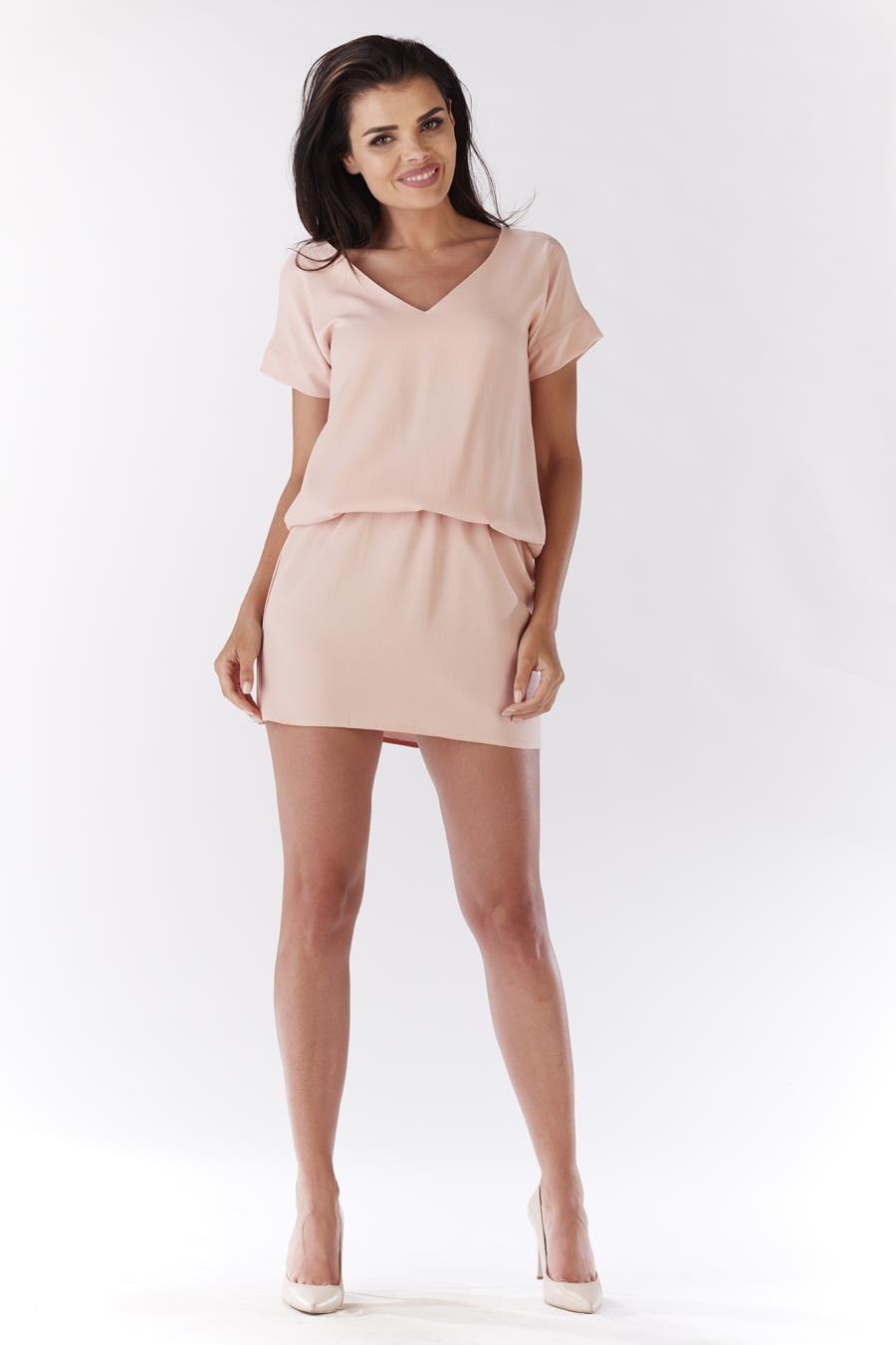75e085b647 Sukienka Mini Pudrowy Róż AW178 BESIMA.pl
