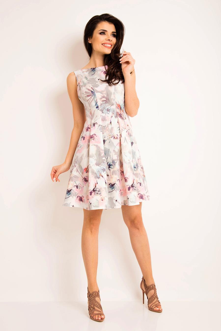95938ce5ed2d Koktajlowa Sukienka w Jasne Kwiaty AW165 BESIMA.pl
