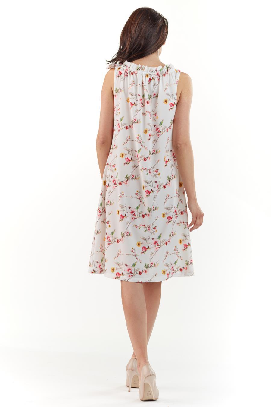 183e49fe66 Luźna Letnia Sukienka Ecru w Kwiaty AW224. Producent  Awama