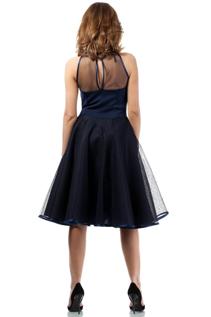 3faeee03c7 Sukienka Wieczorowa z Tiulem Granatowa MOE148 BESIMA.pl