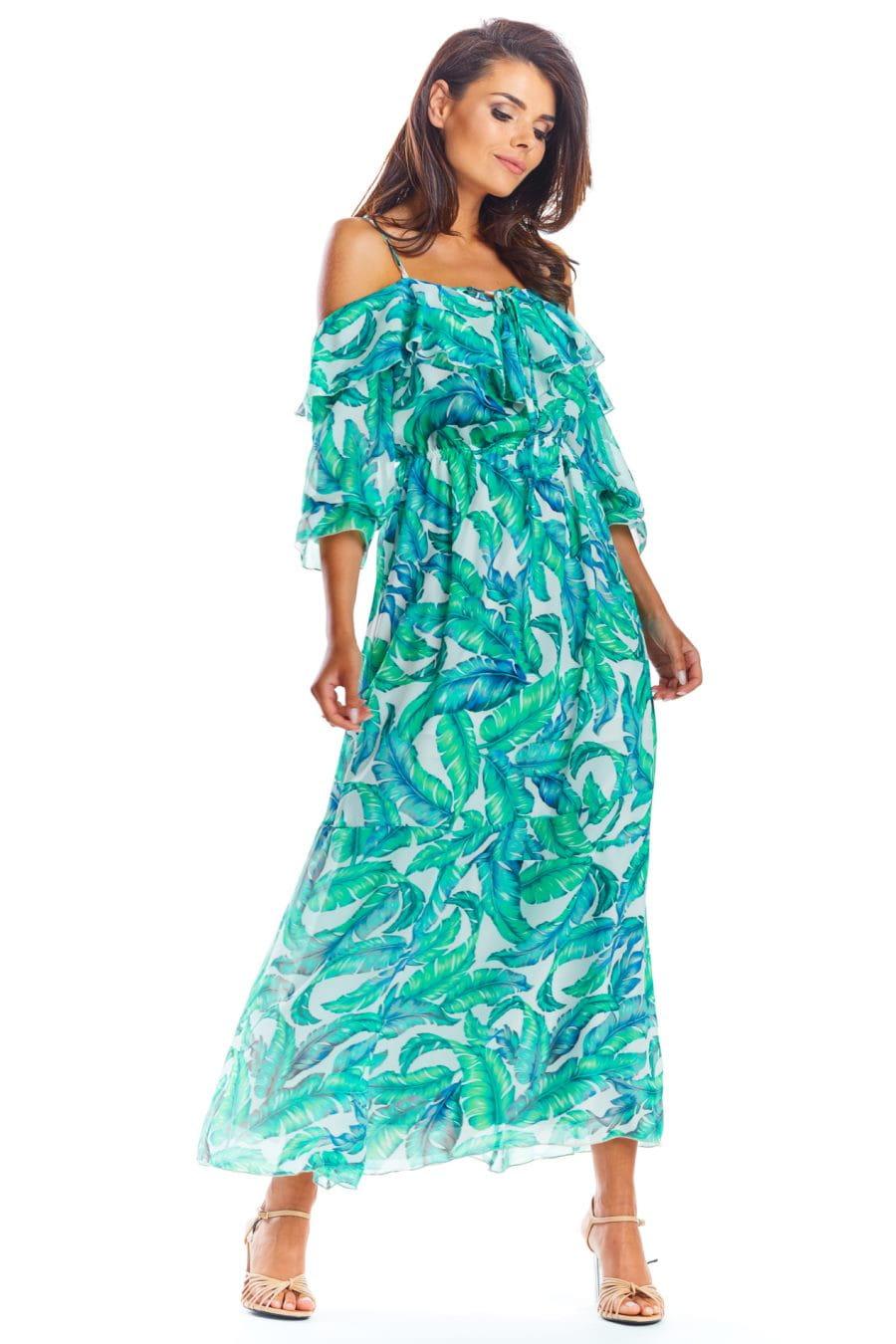 Zwiewna Sukienka Maxi Zielone Liście AW311