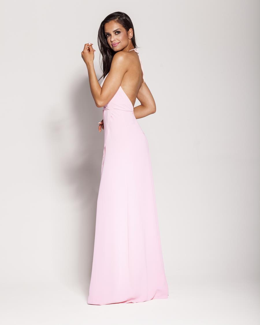 Długa dopasowana sukienka z odkrytymi plecami
